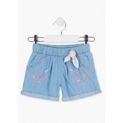 SHORT DENIM CON MARIPOSAS BORDADAS  NIÑA BABY  LOSAN REF  018-9000AL